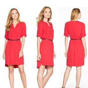 WHBM Red 3/4 Sleeve Laser Cut Shirt Dress